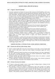 Regolamento dei contratti e per la disciplina delle spese in economia