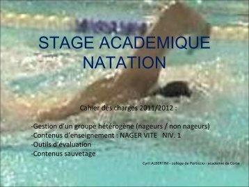 STAGE ACADEMIQUE NATATION
