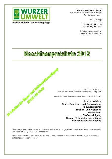 Beliebt Maschinenpreisliste ab 1. April 2012 - Wurzer Umwelt GmbH UT92