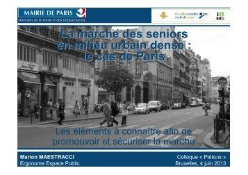 La marche des seniors en milieu urbain dense  le cas de Paris