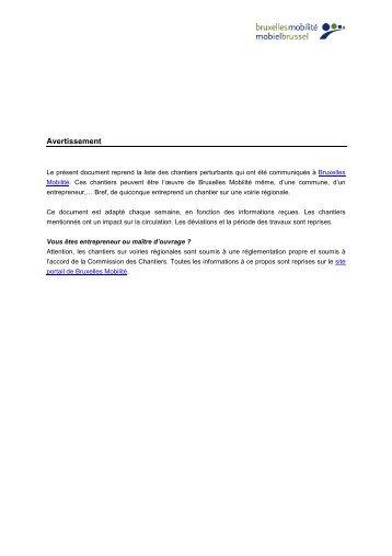 Avertissement - Bruxelles Mobilité
