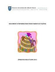 DOCUMENT D'INFORMATION POUR PARENTS ET ÉLÈVES ÉPREUVES MAI ET JUIN 2013