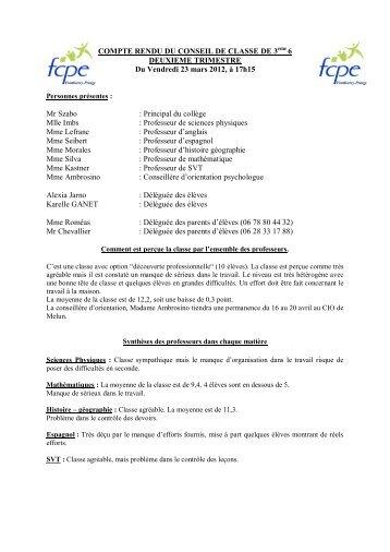 compte rendu du conseil de classe de 5eme5 - FCPE Ponthierry ...