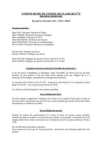 COMPTE RENDU DU CONSEIL DE CLASSE DE 6 6