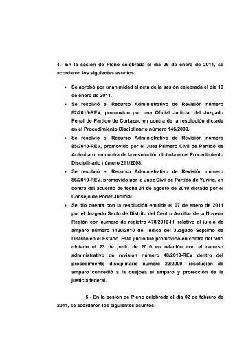 4.- En la sesión de Pleno celebrada el día 26 de enero de 2011, se ...