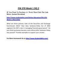 FIN 370 Week 1 DQ 2 Complete Homework Help