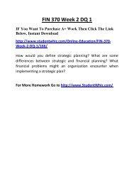 FIN 370 Week 2 DQ 1 Complete Homework Help