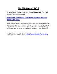 FIN 370 Week 2 DQ 2 Complete Homework Help