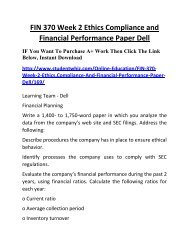 FIN 370 Week 2 Ethics Compliance and Financial Performance Paper Dell Complete Homework Help