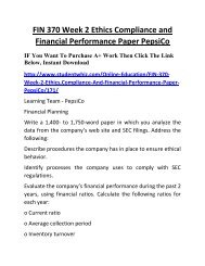 FIN 370 Week 2 Ethics Compliance and Financial Performance Paper PepsiCo Complete Homework Help
