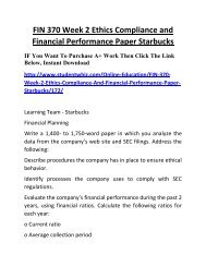FIN 370 Week 2 Ethics Compliance and Financial Performance Paper Starbucks Complete Homework Help