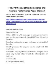 FIN 370 Week 2 Ethics Compliance and Financial Performance Paper Walmart Complete Homework Help