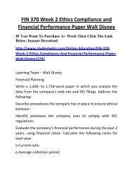 FIN 370 Week 2 Ethics Compliance and Financial Performance Paper Walt Disney Complete Homework Help