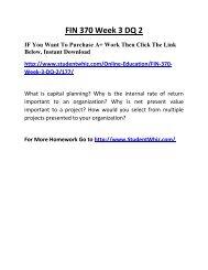 FIN 370 Week 3 DQ 2 Complete Homework Help