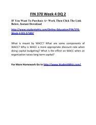 FIN 370 Week 4 DQ 2 Complete Homework Help