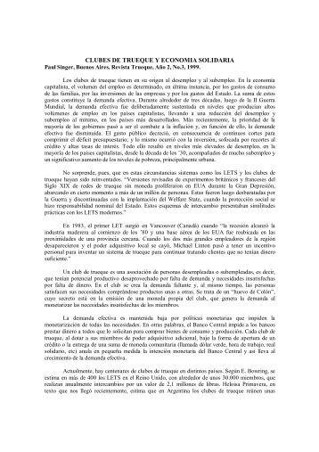 CLUBES DE TRUEQUE Y ECONOMIA SOLIDARIA - Socioeco.org