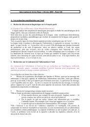 Intervention de Sylvie Plane / 2 février 2005 – Paris XII A. Les ...