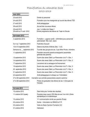 Planification du calendrier-école 2012-2013