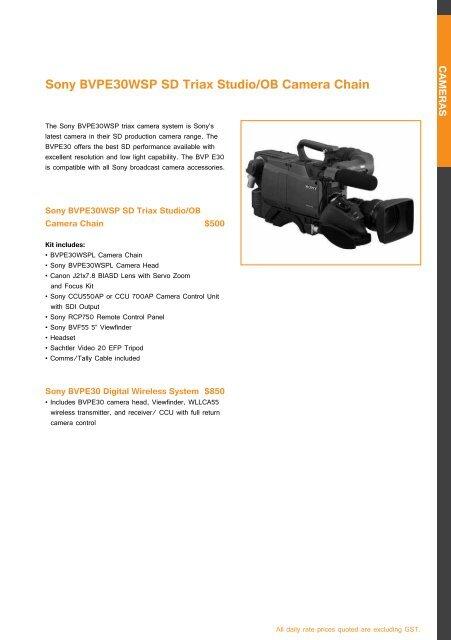 Sony BVPE30WSP SD Triax S