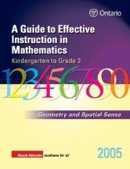 Kindergarten to Grade 3 Geometry and Spatial Sense