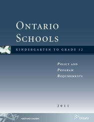 Ontario Schools, Kindergarten to Grade 12: Policy and
