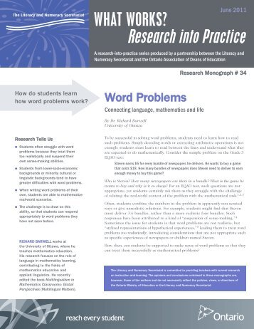 Word Problems: Connecting Language, Mathematics and ... - Ontario