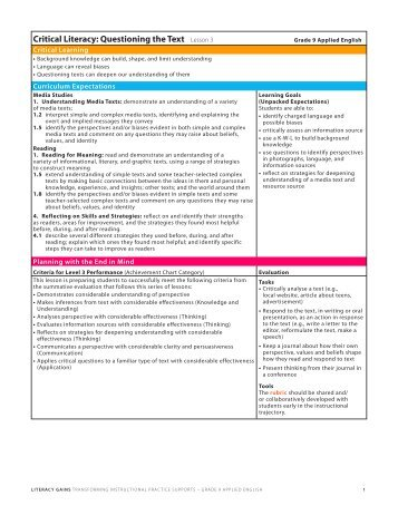 Critical Literacy Questioning the Text