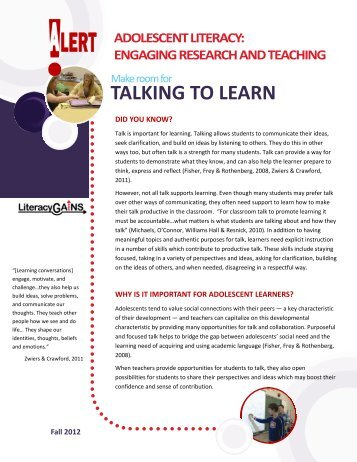 Making Room for Talking to Learn - EduGains