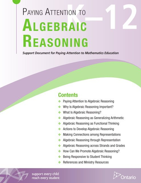 Paying Attention to Algebraic Reasoning, K to 12 - EduGains