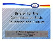 Briefer for the Committee on Basic Education and Culture