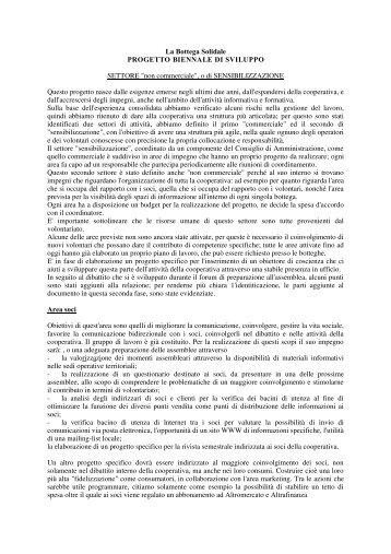 La Bottega Solidale PROGETTO BIENNALE DI SVILUPPO ...