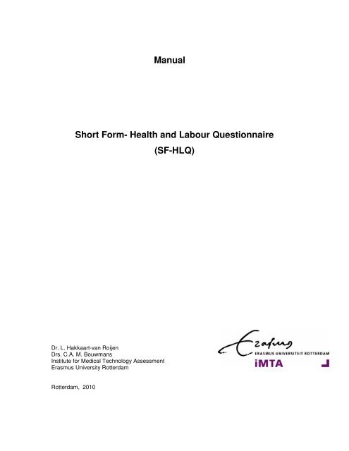 manual short form health and labour questionnaire sf hlq