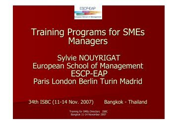 Training Programs for SMEs Managers