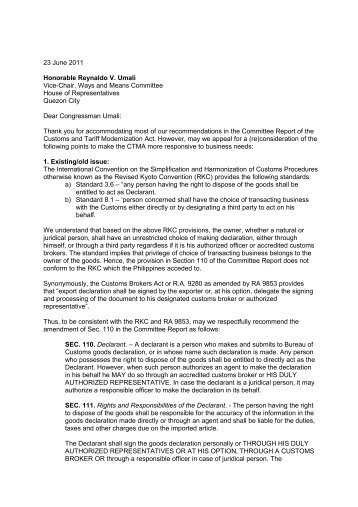 23 June 2011 Honorable Reynaldo V. Umali Vice-Chair ... - Philexport