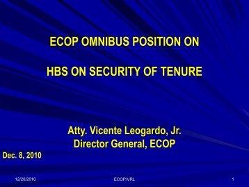HBS ON SECURITY OF TENURE