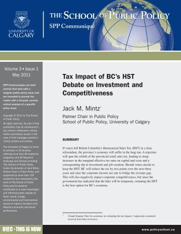 Tax Impact of BC's HST Debate on Investment and Competitiveness