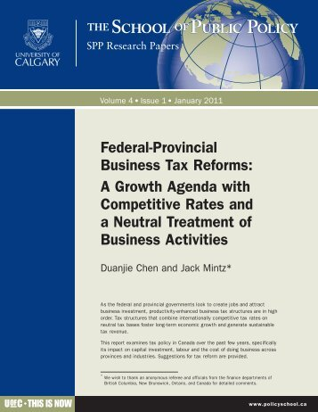 Federal-Provincial Business Tax Reforms - School of Public Policy