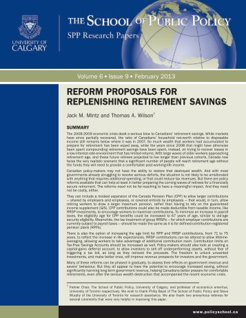 REFORM PROPOSALS FOR REPLENISHING RETIREMENT SAVINGS
