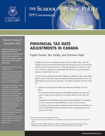 PROVINCIAL TAX RATE ADJUSTMENTS IN CANADA - School of ...