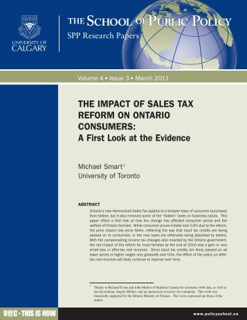 THE IMPACT OF SALES TAX REFORM ON ONTARIO CONSUMERS A First Look at the Evidence