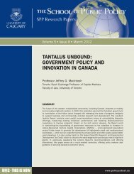GOVERNMENT POLICY AND INNOVATION IN CANADA