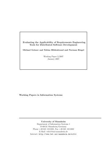 Evaluating the Applicability of Requirements Engineering Tools for ...