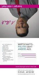 WIRTSCHAFTS- POLITIK SIEHT ANDERS AUS Chemikanten Abendform 0 23 65  60 52 00