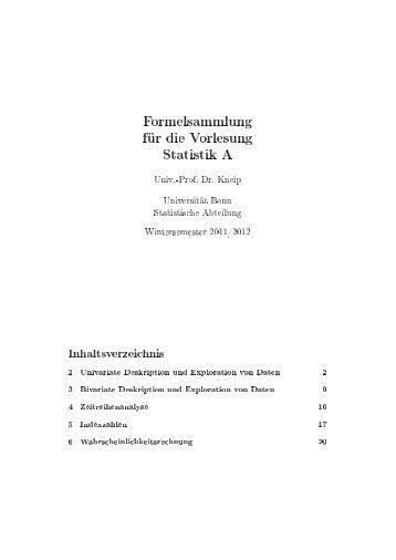 Formelsamlung (Statisitk A) - Universität Bonn