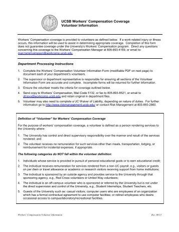 Volunteer Information Form - Workers' Compensation