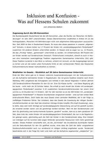 Inklusion und Konfusion - Was auf Hessens Schulen ... - Auswege