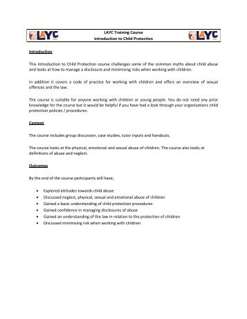 LAYC Training Course Introduction to Child Protection Introduction ...