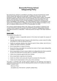Bonneville Primary School Safeguarding Policy