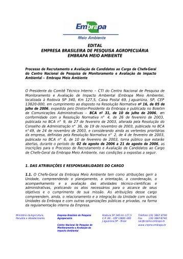 EDITAL EMPRESA BRASILEIRA DE PESQUISA AGROPECUÁRIA EMBRAPA MEIO AMBIENTE