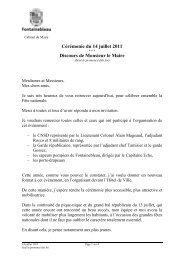 Cérémonie du 14 juillet 2011 Discours de Monsieur le Maire